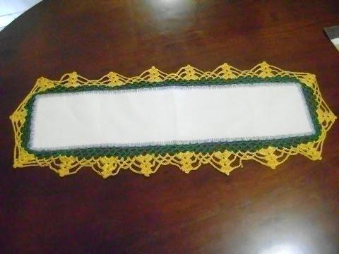 Puntilla para camino de mesa verde con naranja tejido en for Camino de mesa a crochet
