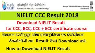 NIELIT CCC Result 2018 July August Cycle CCC+ BCC ECC Score Card a