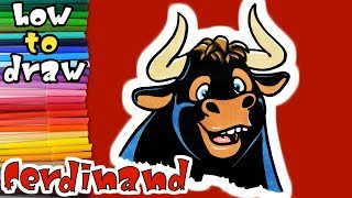 How to Draw and Paint Ferdinand  - Art Coloring for Kids - learn to draw