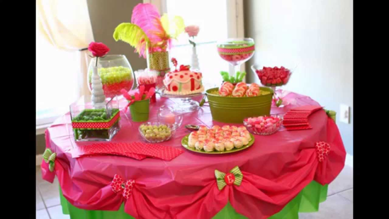 Home birthday party table decoration ideas youtube for Bday decoration