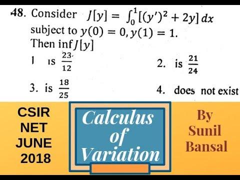 Calculus of Variation || Easy Approach || CSIR NET J-2018, Q. 48 || By Sunil Bansal