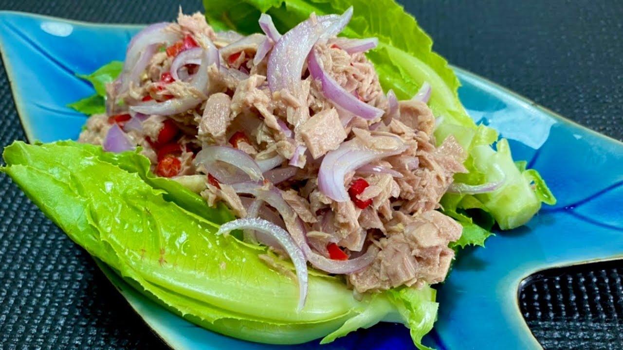 ยำปลาทูน่ากระป๋อง แบบง่ายๆ ทำง่ายได้กินเร็วมาก กับแกล้มดีงามพระรามแปด#ยำปลาทูน่ากระป๋อง