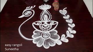 Karthika Masam special rangoli kolam    Beautiful designs with diyas    Latest festival muggulu