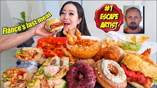 """Fiance's """"LAST MEAL"""" MUKBANG! (Donuts, Ramen, Spicy Rice Cakes, Chicken Tenders ETC) 먹방"""