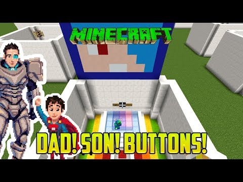 Minecraft: DAD AND SON PLAY FIND THE BUTTON! RAINBOW MOD EDITION