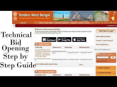 E-tender Technical Bid Opening Step by Step Guide 2021 Portal wbtenders.gov.in #tender #wbtender