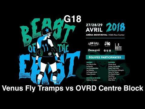 G18 Venus Fly Tramps vs OVRD Centre Block Montreal Beast of the East 2018 Roller Derby BOE2018 MTLRD