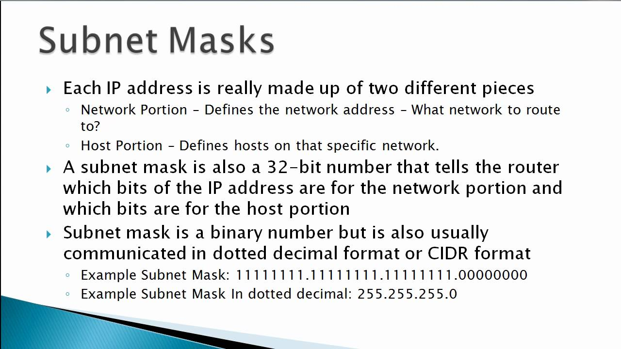 How to know the subnet mask 8