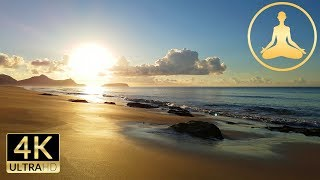 Sunrise at Porto Santo Island - Relaxing Sea Ocean Waves Sounds (4K UHD)