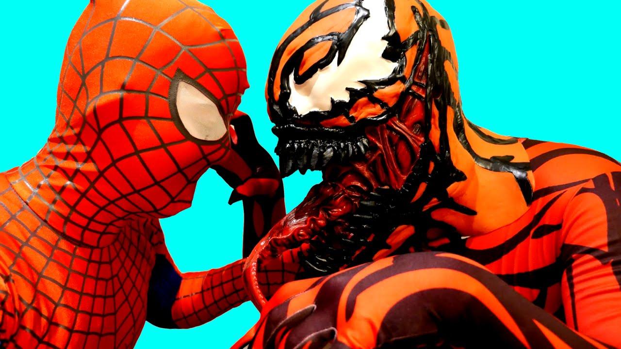 spiderman vs carnage in real life superhero movie spiderman epic superheroes battle kids superheroes