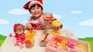 メルちゃん ジュースがない?はるとミックスジュース屋さんごっこ!Pretend Play Selling SAND in Juice Toy Shop