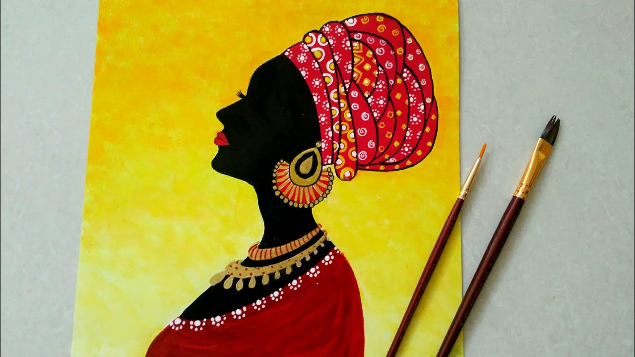 African Women Silhouette Painting Beautiful African Lady Statement Wall Decor Ideas Youtube