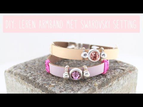 Sieraden maken: Armband met Lovi leer en Swarovski ♡ DIY