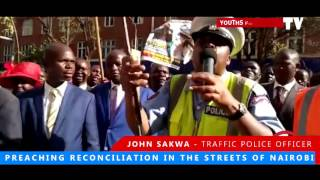 POLICE OFFICER PREACHING RECONCILIATION IN NAIROBI STREETS