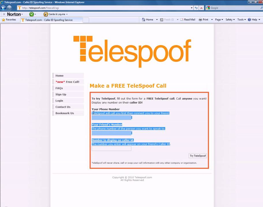 free caller id spoofing