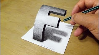 Easy Drawing 3D Letter - How to Draw Letter F - by Vamos