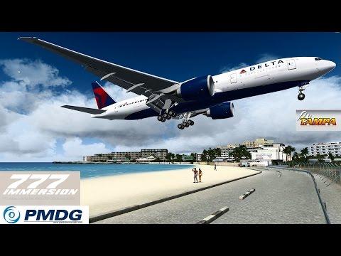 FSX PMDG 777 Landing TNCM Cockpit & Outsideview [FULLHD]