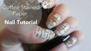 Coffee Stained Paper Nail Art Tutorial
