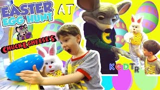 The Easter Bunny Goes to Chuck E Cheese Indoor Play Area Easter Egg Hunt With the Easter Bunny