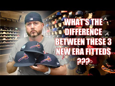 WHAT'S THE DIFFERENCE BETWEEN THESE 3 NEW ERA FITTEDS ??? ATLANTA BRAVES TOMAHAWK EDITION !!!