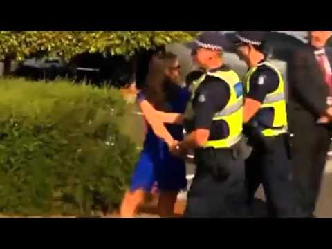 Woman pushes police officer at Flemington on Melbourne Cup d