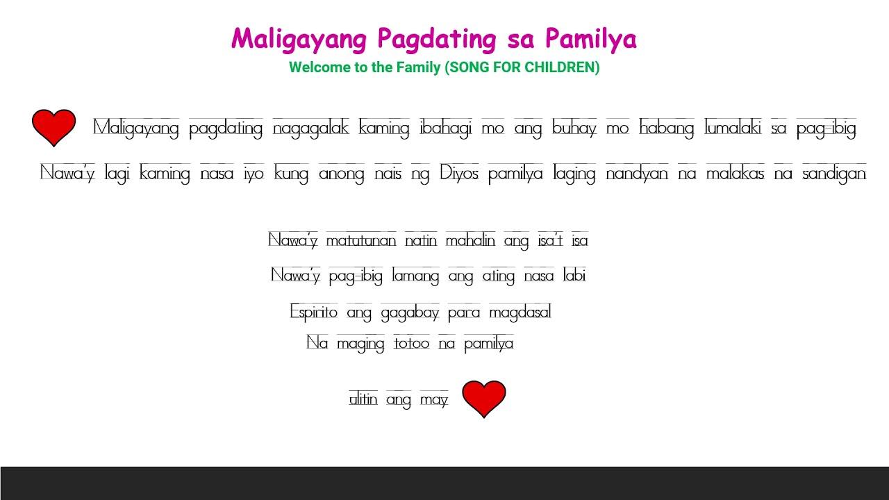 Maligayang pagdating lyrics adult dating dublin