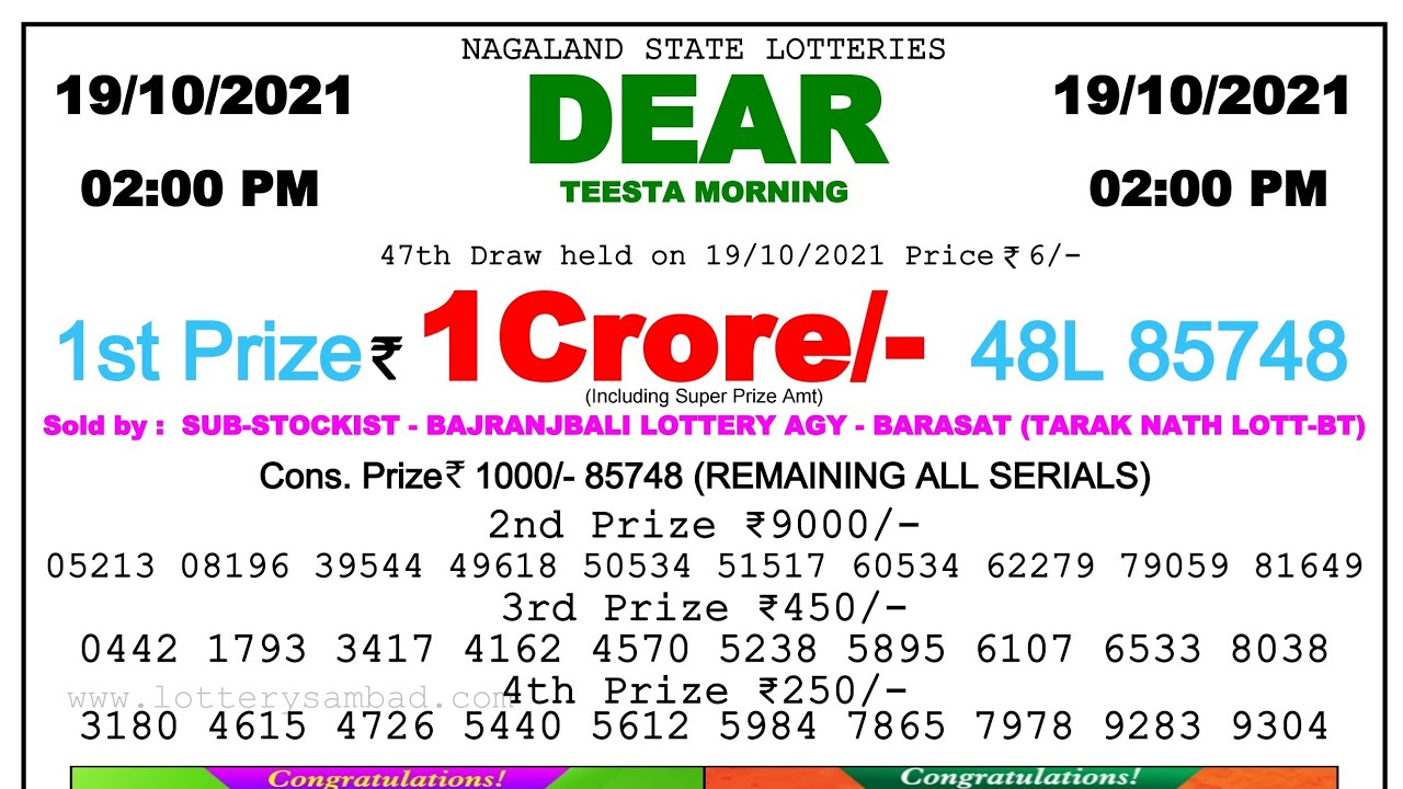 Lottery Sambad Result 2pm 19.10.21 Nagaland State Lottery Result #dearlotterylive