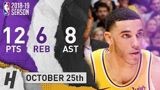Lonzo Ball Full Highlights Lakers vs Nuggets 2018.10.25 - 12 Pts, 8 Ast, 6 Reb!