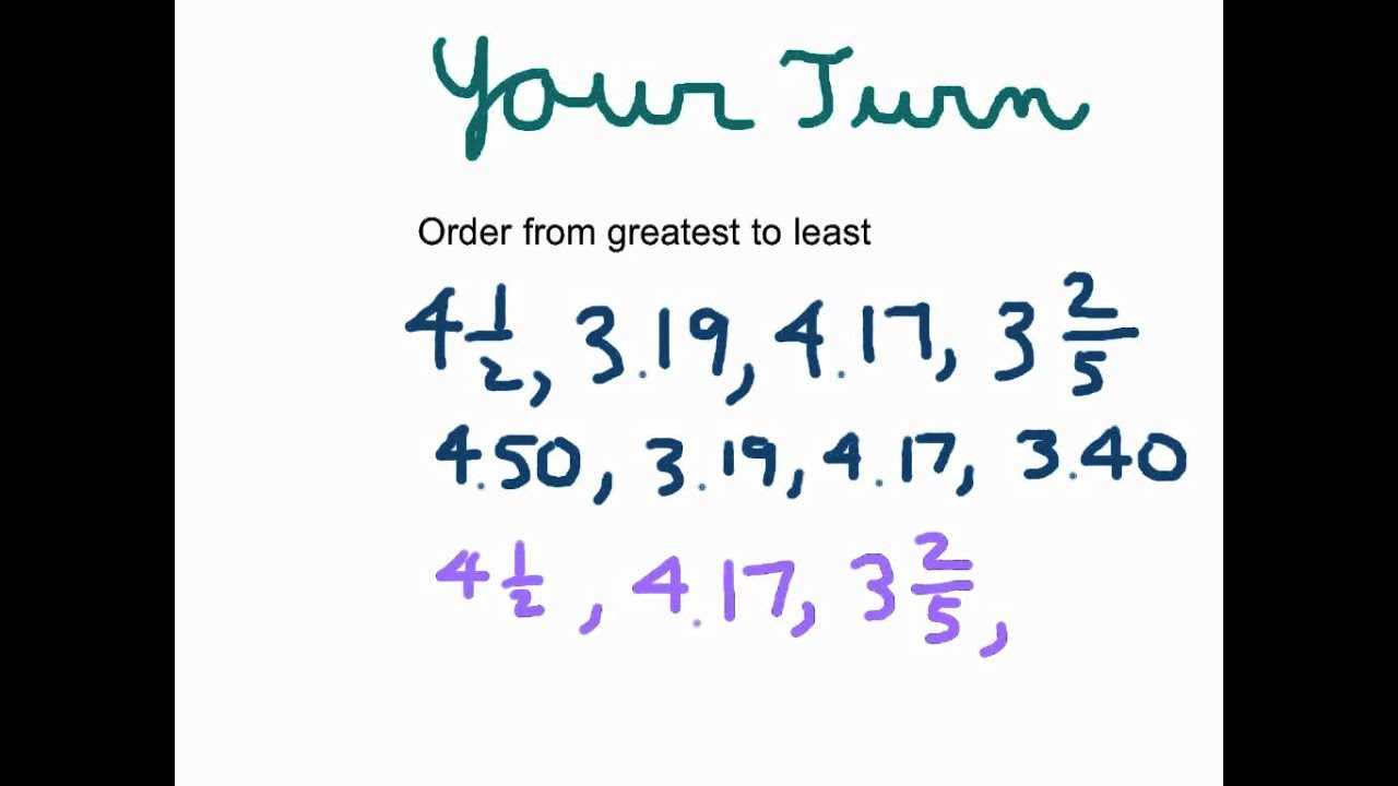 Ordering Decimals Fractions and Mixed Numbers YouTube – Compare and Order Decimals Worksheet