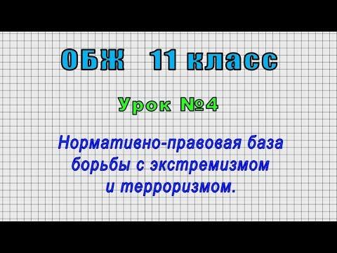 ОБЖ 11 класс (Урок№4 - Нормативно-правовая база борьбы с экстремизмом и терроризмом.)