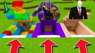 Minecraft PE : DO NOT CHOOSE THE WRONG SECRET BASE! (Rainbow Steve, Thanos & Slenderman)
