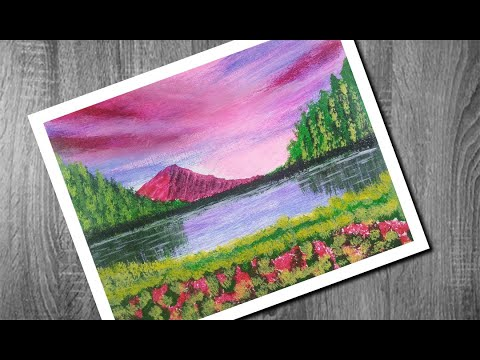 Drawing Scenery | easy & simple Acrylic painting | Landscape step by step for Beginners