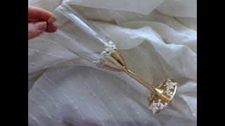 Декорируем свадебные бокалы поталью своими руками/свадебные аксессуары своими руками