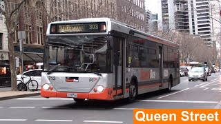 Buses in Melbourne City (Queen Street) during Peak Hour - Melbourne Transport