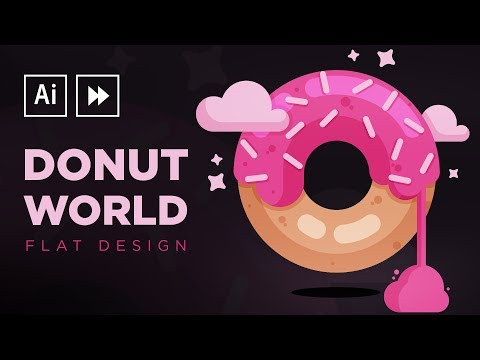 Illustrator Speedart: Flat Design Donut World
