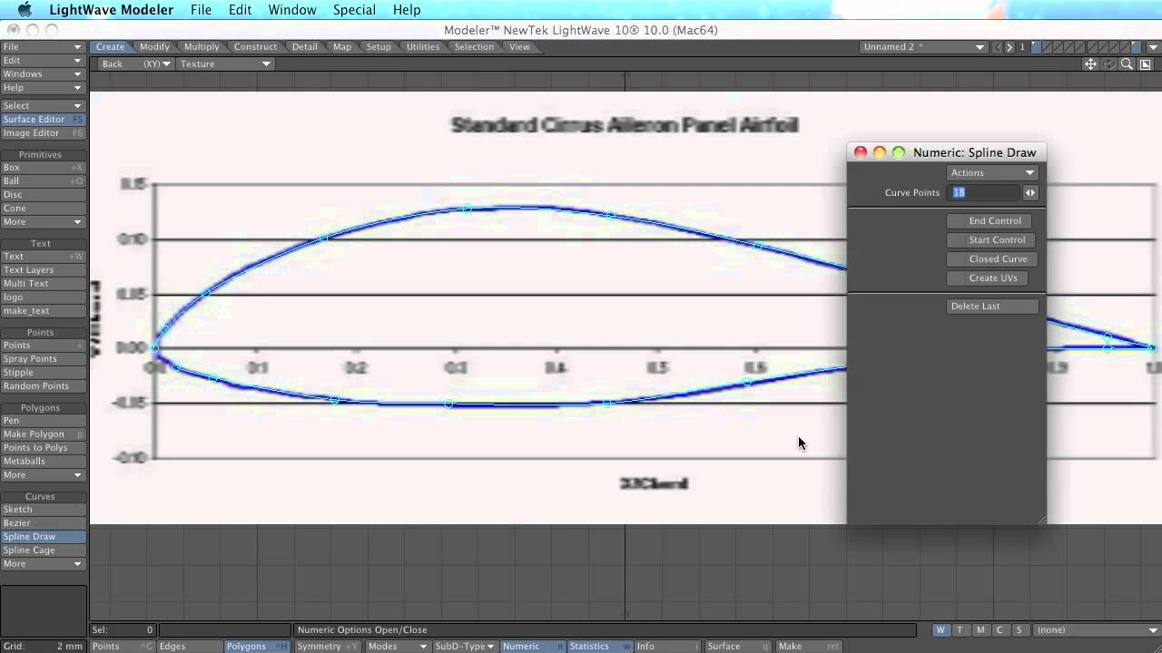 How to make an airfoil wing profile in Lightwave 10 - tutorial