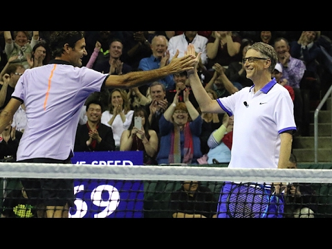 Roger Federer / Bill Gates vs John Isner / Mike McCready - Match for Africa 4 Highlights