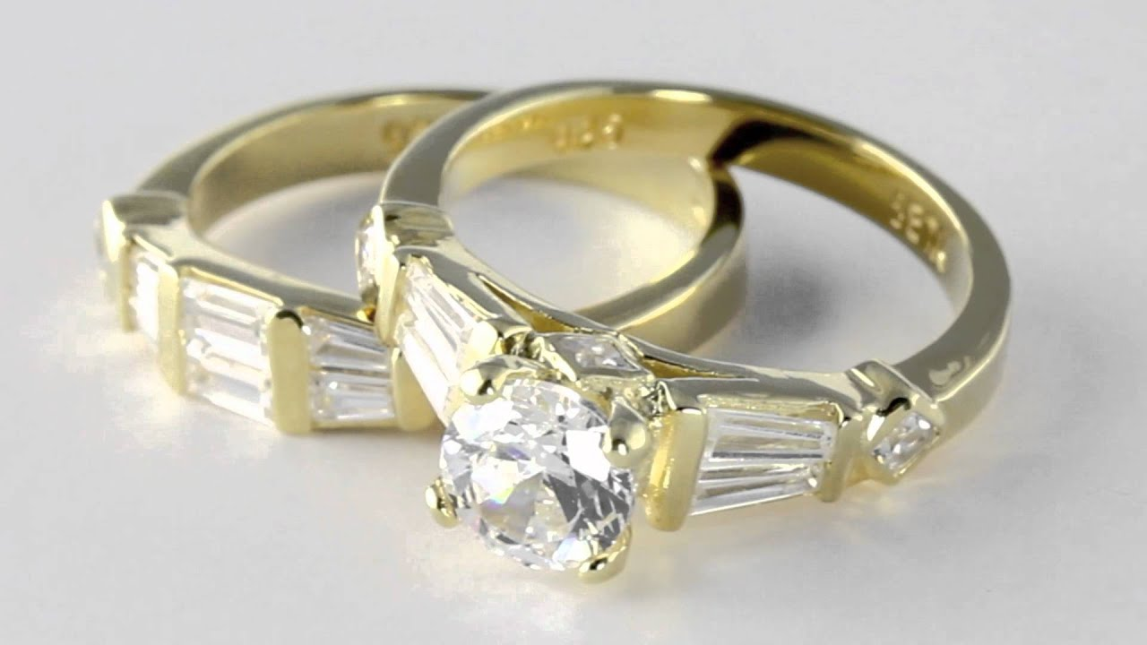 18k Gold over Sterling Silver Princess and Baguette Cut