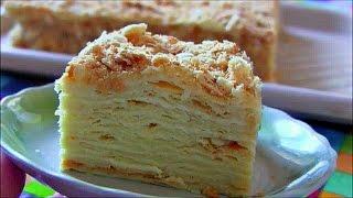 Торт Наполеон с заварным кремом нежный и пропитанный