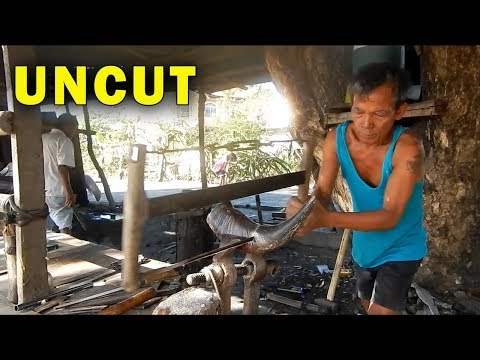How Blacksmiths make Buffalo Horn Machete Handles UNCUT VERSION