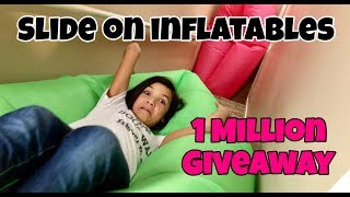 CRAZY SLIDE DOWN THE STAIRS & 1 million GIVEAWAY!!!
