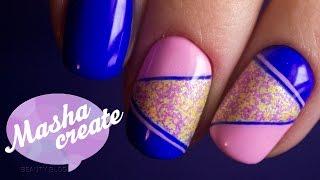 Маникюр геометрия: Меланж для ногтей + гель лак Vogue nails популярный синий. Простой дизайн ногтей(, 2016-10-23T18:24:52.000Z)