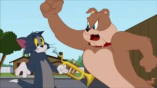 Tom and jerry show tom bashing spike with a trumpet and spike punches tom