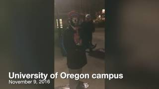 University of Oregon student confronts 3 people wearing blackface on campus