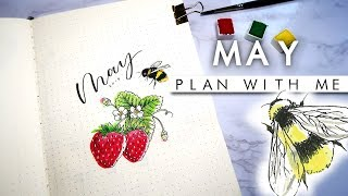 PLAN WITH ME | May 2019 📔 Strawberry Bee Bullet Journal setup 📔