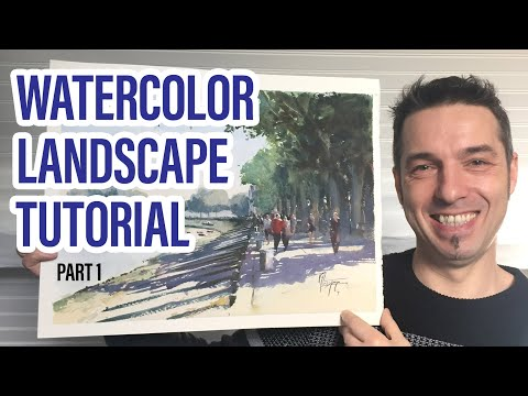 Watercolor Landscape Painting Tutorial Part 1- How To Paint Trees & Water