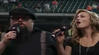 "Johnny Riley and Kathy Ross sing ""God Bless America"" at Minute Maid Park, Sunday, August 3, 2014"