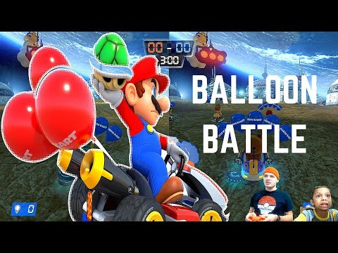 Father and Son Team Balloon Battle Mario Kart 8 - EPIC SPACE RACE FAIL