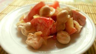 Салат с курицей и грибами. Рецепты салатов с курицей / помидорами.Салат с майонезом рецепт