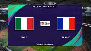 PES 2020 ITALY vs FRANCE Nations League 2020 21 Full Match All Goals HD Gameplay PC
